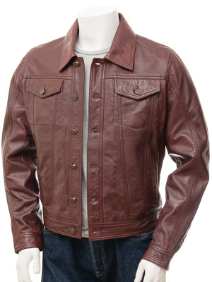 Men's Burgundy Leather Trucker Jacket: Foggia