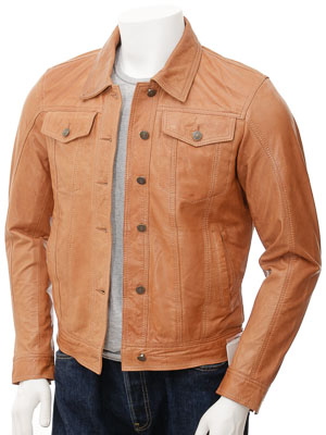 Mens Tan Leather Trucker Jacket: Foggia