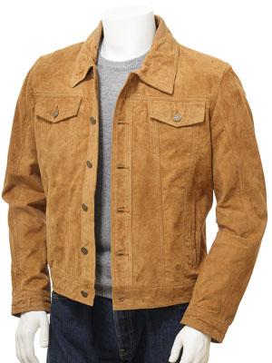 Men's Tan Suede Trucker Jacket: Foggia