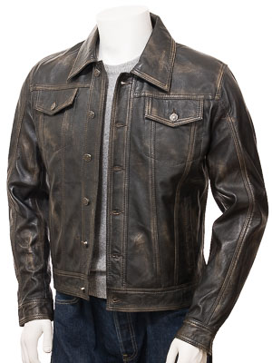 Mens Leather Trucker Jacket in Vintage: Foggia
