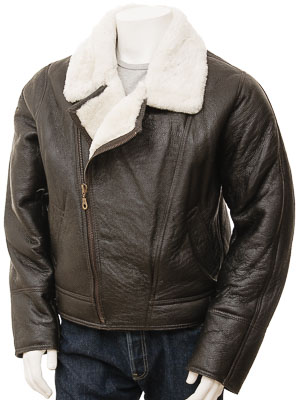 Men's Brown and Cream Sheepskin Jacket: Gent