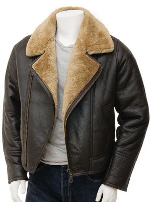 Men's Brown and Ginger Sheepskin Jacket: Ghent