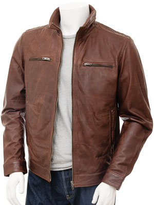 Mens Brown Leather Biker Jacket: Groningen