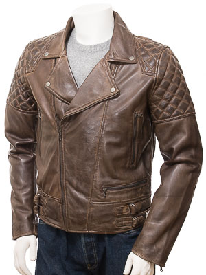 Men's Brown Leather Biker Jacket: Hallwell