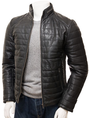 Men's Black Quilted Leather Jacket: Hawkchurch