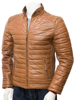 Men's Tan Quilted Leather Jacket: Hawkchurch