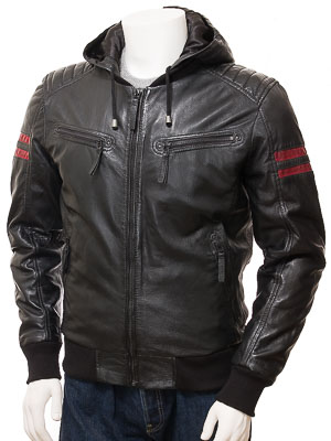 Men's Black Leather Hoodie: Heanton