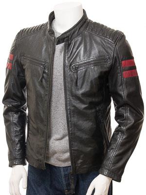Men's Black Leather Biker Jacket: Hele