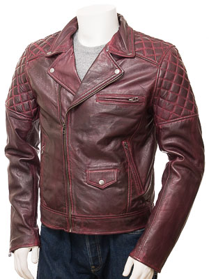 Men's Burgundy Leather Biker Jacket: Hemyock