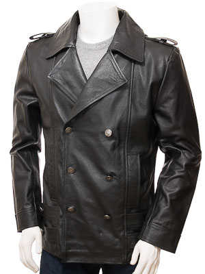 Men's Black Leather Pea Coat: Hingston