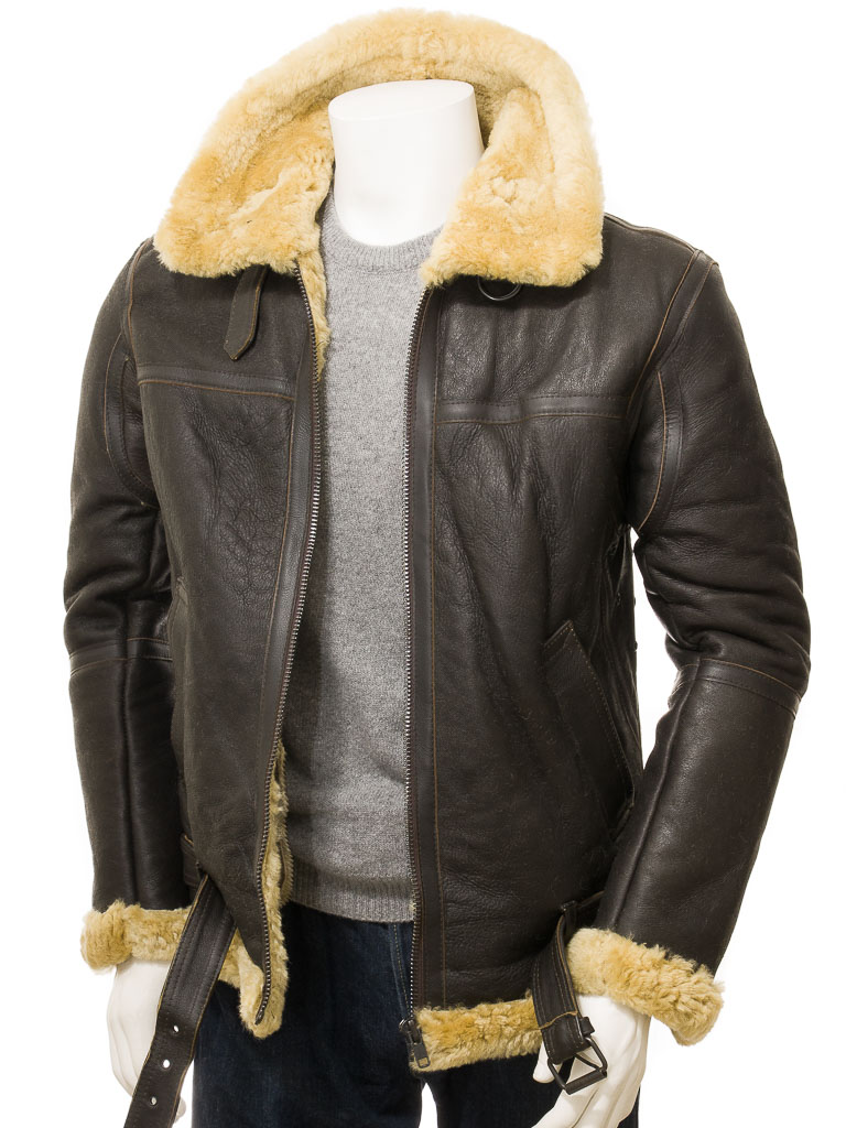 Men's Brown and Ginger Sheepskin Jacket: Kentisbury