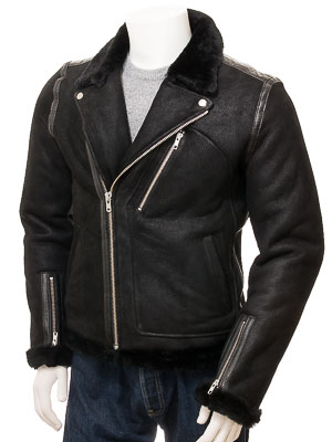 1640d532f Men's Black Shearling Biker Jacket: Kenton
