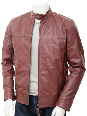 Mens Leather Biker Jacket in Burgundy: Kovrov