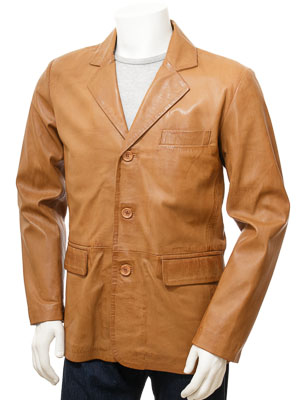 Mens Leather Blazer in Tan: Leskovac