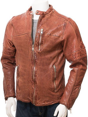 Men's Tan Leather Biker Jacket: Leusdon