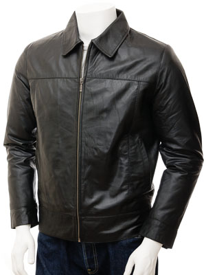Mens Leather Jacket in Black: Leverkusen