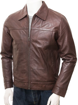 Men's Leather Jacket in Brown: Leverkusen
