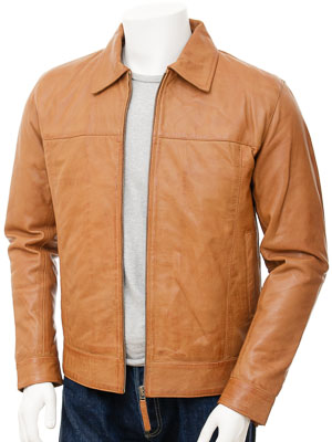 Mens Leather Jacket in Tan: Leverkusen
