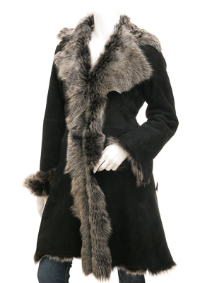 Toscana Shearling in Black & Silver: Madison