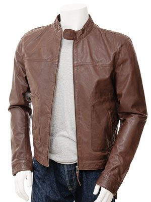 Men's Leather Biker Jacket in Chestnut: Oldenburg