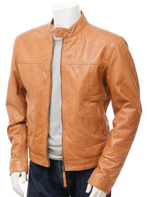 ffedafb2230b Men s Tan Leather Biker Jacket  Oldenburg    MEN    Caine
