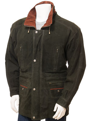 Men's Nubuck Leather Coat in Green: Ostrava