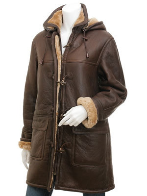Womens Brown Sheepskin Duffle Coat: Scottsdale