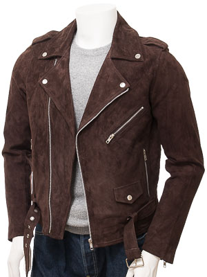 Men's Brown Suede Biker Jacket: Shores