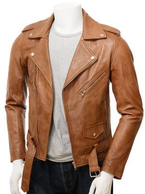 Men's Tan Leather Biker Jacket: Shores