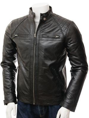 Men's Black Leather Biker Jacket: Sibiu