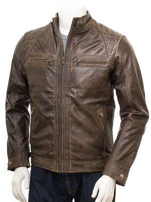Men's Walnut Leather Biker Jacket: Sibiu