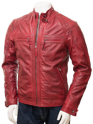 Men's Red Leather Biker Jacket: Sibiu