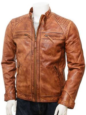 Men's Tan Leather Biker Jacket: Sibiu