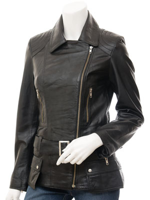 Women's Black Leather Biker Jacket: Simi