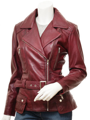 Women's Burgundy Leather Biker Jacket: Simi