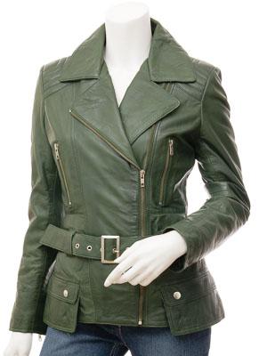 Women's Green Leather Biker Jacket: Simi