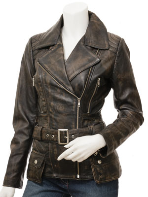 Women's Vintage Leather Biker Jacket: Simi