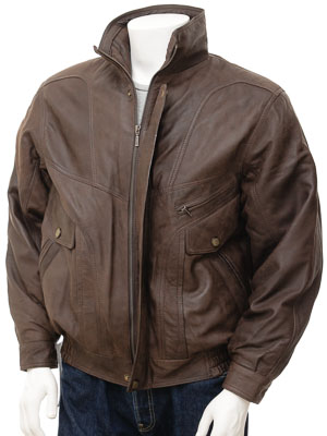 Mens Leather Jacket in Brown: Trieste
