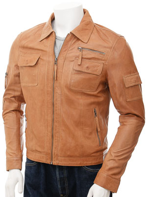 Mens Leather Jacket in Tan: Turku