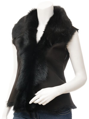 Womens Black Toscana Sheepskin Gilet: Vallejo