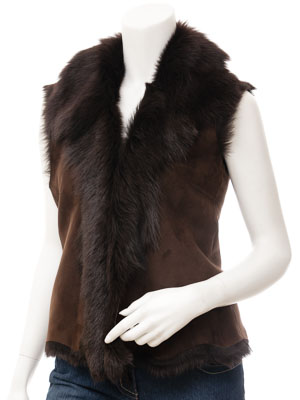 Womens Brown Toscana Sheepskin Gilet: Vallejo