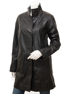 Women's Black Leather Coat: Dawson