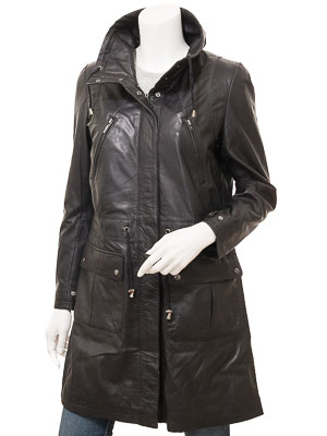 Ladies Black Leather Parka: Dayton