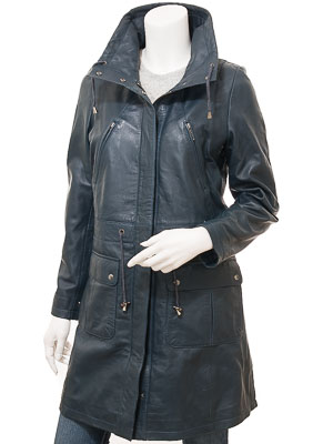 Ladies Navy Leather Parka: Dayton
