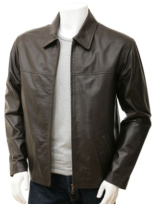Men's Brown Harrington Leather Jacket