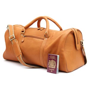 Leather Holdall in Tan: Ross