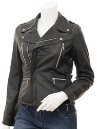 Womens Black Leather Biker Jacket: Alden