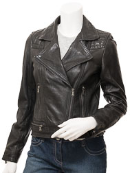 Women's Black Leather Biker Jacket: Armanville