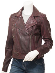 Women's Burgundy Leather Biker Jacket: Armanville