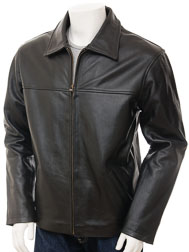 Mens Cow Leather Jacket in Black: Ashreigny